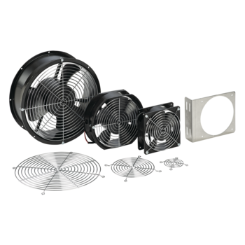 Compact Axial Fans; 2 inch; 2-inch; 24 VDC; D85; 17393; A2AXFN24; 3 inch; 3-inch; 24 VDC; 110 VAC; D85; 17394; A3AXFN24; 17395; A3AXFN; 4 inch; 4-inch; 24 VDC; 230 VAC; 115 VAC; D85; 17391; A4AXFN24; 22120; A4AXFN2; 22210; A4AXFN; 50429; A4AXFNPG; 6 inch;