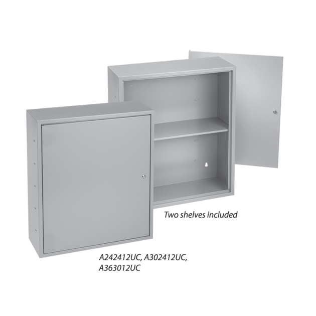 Locking Utility Cabinets with Shelves, Type 1, 24.00x24.00x12.00, Gray,  Steel   nVent   Spare Fuses Box Enclosure      nVent HOFFMAN